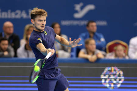 Sofia, Bulgaria - February 11, 2017: David Goffin from Belgium (pictured) plays against Roberto Bautista Agut from Spain during a match from Sofia Open 2017 tennis tournament.