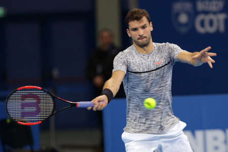 Sofia, Bulgaria - February 10, 2017: Grigor Dimitrov (pictured) from Bulgaria plays against Viktor Troicki from Serbia during a match from Sofia Open 2017 tennis tournament.