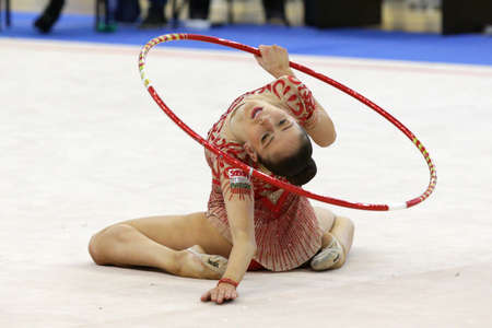 Sofia, Bulgaria - 10 March, 2017: Individual rhythmic gymnast Neviana Vladinova acts during qualifications for national tournament in Sofia.