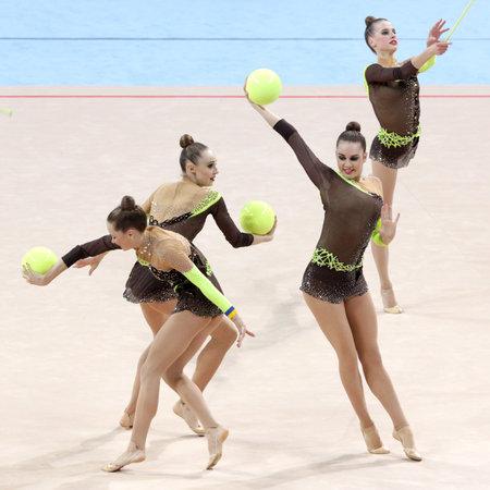 Sofia, Bulgaria - 7 May, 2017: Team Ukraine performs during Rhythmic Gymnastics World Cup Sofia 2017. Group tournament.