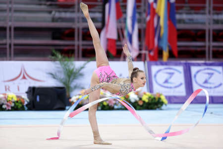 bulgaria girl: Sofia, Bulgaria - 6 May, 2017: Nastasija Gvozdic from Serbia performs during Rhythmic Gymnastics World Cup Sofia 2017. Individual tournament.