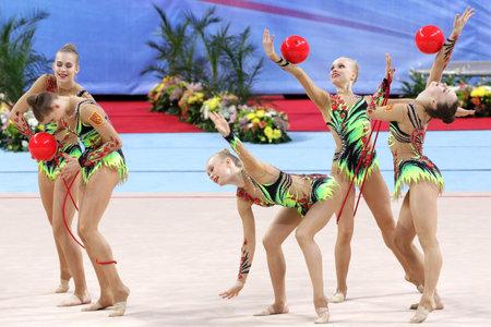 Sofia, Bulgaria - 7 May, 2017: Team Finland performs during Rhythmic Gymnastics World Cup Sofia 2017. Group tournament. Editorial