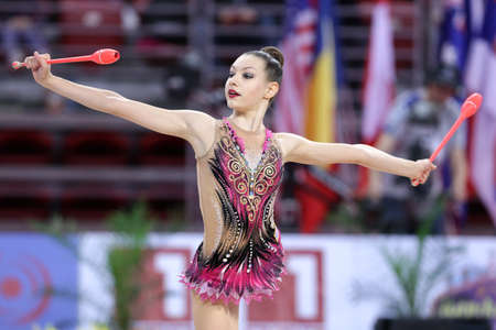 Sofia, Bulgaria - 6 May, 2017: Evita Griskenas from USA performs during Rhythmic Gymnastics World Cup Sofia 2017. Individual tournament.