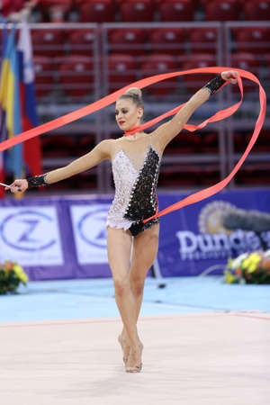 Sofia, Bulgaria - 6 May, 2017: Noemi Peschel from Germany performs during Rhythmic Gymnastics World Cup Sofia 2017. Individual tournament. Editorial