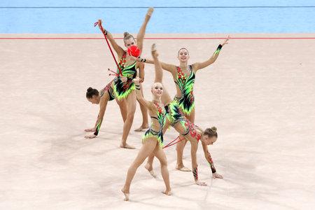 Sofia, Bulgaria - 6 May, 2017: Team Finland performs during Rhythmic Gymnastics World Cup Sofia 2017. Group tournament. Editorial