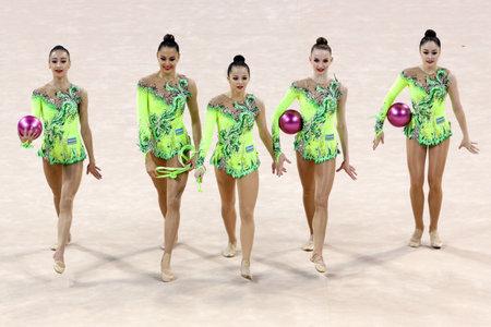 Sofia, Bulgaria - 6 May, 2017: Team Uzbekistan performs during Rhythmic Gymnastics World Cup Sofia 2017. Group tournament.