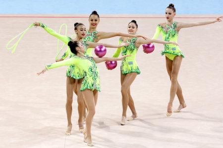 Sofia, Bulgaria - 7 May, 2017: Team Uzbekistan performs during Rhythmic Gymnastics World Cup Sofia 2017. Group tournament. Editorial