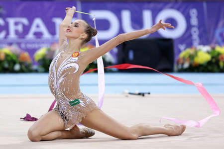 Sofia, Bulgaria - 6 May, 2017: Karina Kuznetsova from Russia performs during Rhythmic Gymnastics World Cup Sofia 2017. Individual tournament. Editorial