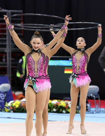 Sofia, Bulgaria - 7 May, 2017: Team Germany performs during Rhythmic Gymnastics World Cup Sofia 2017. Group tournament.