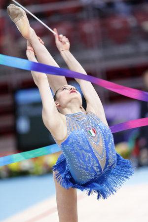 Sofia, Bulgaria - 6 May, 2017: Mira Varay from Hungary performs during Rhythmic Gymnastics World Cup Sofia 2017. Individual tournament.
