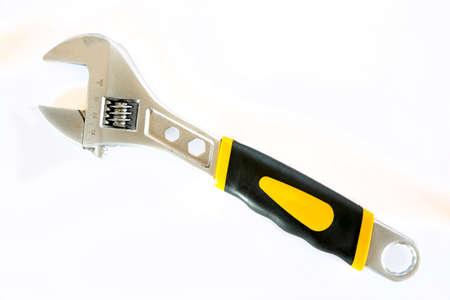 Adjustable Wrench isolated on a white background. Studio shot Stock Photo