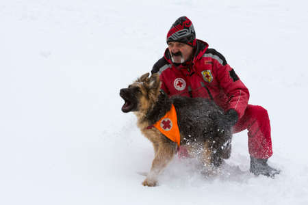 Sofia, Bulgaria - January 18, 2017: Rescuer from Mountain rescue service at Red Cross organization participates in a training with his dog. Both men and animals are trained before going on duty. Editorial