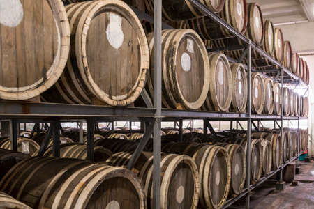 Scotch Whisky Barrel rows. Whiskey and brandy distillery. Oak barrel used to age whiskey. Stock Photo