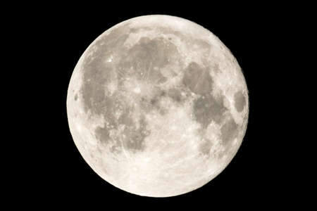 Earth's permanent natural satellite - the Moon. High resolution 6 mp image. On a black background.