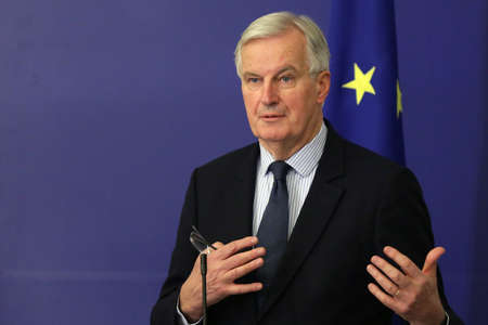 Sofia, Bulgaria - 19 December 2017: European Commission's Brexit negotiator Michel Barnier speaks at a press conference after meating Bulgarian PM at Council of Ministers.