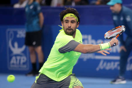 Sofia, Bulgaria - February 8, 2018: Marcos Baghdatis (pictured) from Cyprus plays against Adrian Mannarino from France during a match from Sofia Open 2018 tennis tournament.