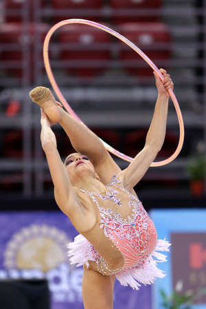 Sofia, Bulgaria - 30 March, 2018: Sara Llana Spain performs with hoop during Rhythmic Gymnastics World Cup Sofia 2018. Individual tournament.