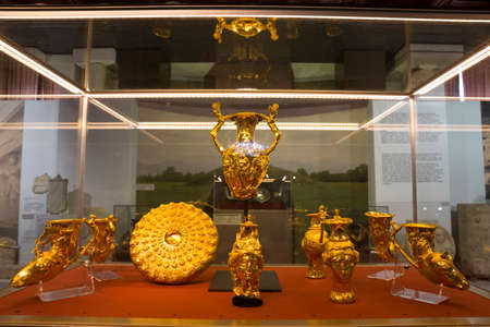 Panagyurishte Treasure consists of a phiale, an amphora, three oinochoai and four rhytons with total weight of 6.164 kg of 24-karat gold. It is dated to the turn of the 4th-3rd centuries BC.