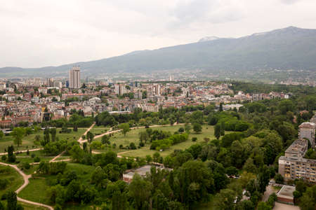 Aerial view of the center of Sofia, Bulgaria.