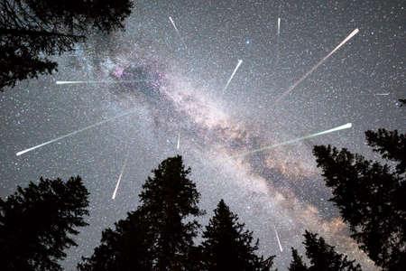 Una vista de una lluvia de meteoritos y la Vía Láctea con una silueta de bosque de pinos en primer plano. Paisaje de verano de naturaleza de cielo nocturno. Observación de la lluvia de meteoritos de las Perseidas. Foto de archivo