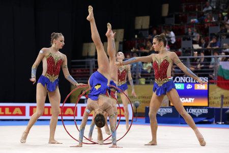 Sofia, Bulgaria - 15 September, 2018: Team Hungary performs during The 2018 Rhythmic Gymnastics World Championships. Group tournament.