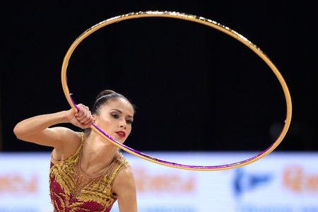 Sofia, Bulgaria - 14 September, 2018: Neviana VLADINOVA from Bulgaria performs with hoop during The 2018 Rhythmic Gymnastics World Championships. Individual tournament. Editorial