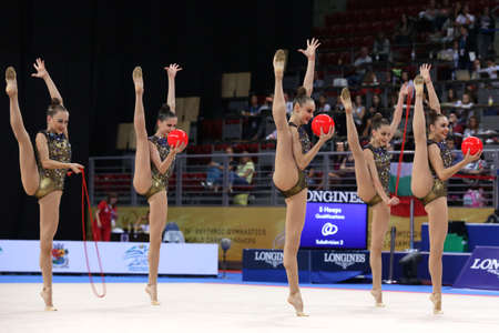 Sofia, Bulgaria - 15 September, 2018: Team Ukraine performs during The 2018 Rhythmic Gymnastics World Championships. Group tournament.