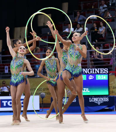 Sofia, Bulgaria - 15 September, 2018: Team Brazil performs during The 2018 Rhythmic Gymnastics World Championships. Group tournament.