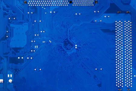 Blue printed circuit board PCB. Computational equipment.