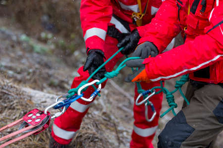 Paramedics from mountain rescue service provide first aid during a training for saving a person in accident in the forest. Unrecognizable people witj ropes and carabiners.