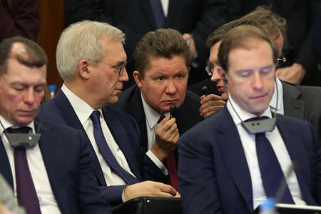 Sofia, Bulgaria - 4 March, 2019: CEO of Russian energy company Gazprom Alexey Miller attends to a press conference of Bulgarian and Russian prime ministers. Editorial