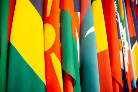 Some world national flags shot from an angle. Banco de Imagens