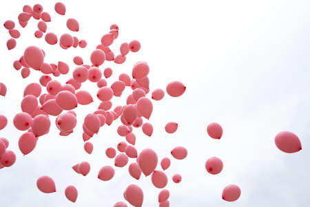Hundreds of pink balloons are released in memory of women passed away because of breast cancer last year.