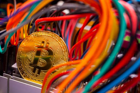Virtual cryptocurrency money Bitcoin golden coin on a computer printed circuit board PCB surrounded by different colorful cables. The future of money. Computational equipment. 版權商用圖片