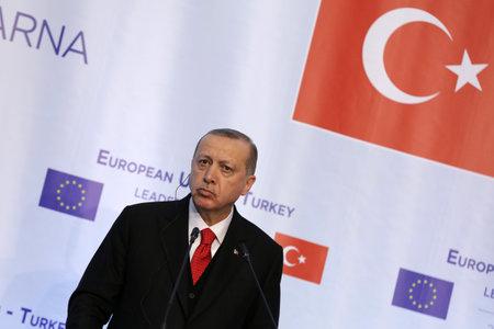 Varna, Bulgaria - March 26, 2018: Turkish President Tayyip Erdogan attends a news conference at Euxinograd residence.