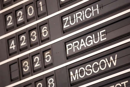 Old flight information display system. Split-flap (or just flap) display. Often used as a public transport timetable in airports or railway stations. Zurich, Prague, Moscow.