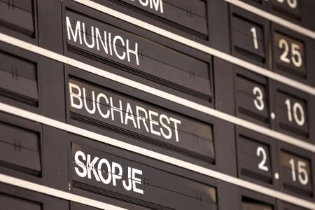 Old flight information display system. Split-flap (or just flap) display. Often used as a public transport timetable in airports or railway stations. Airport Display Screen. Munich, Bucharest, Skopje. Foto de archivo