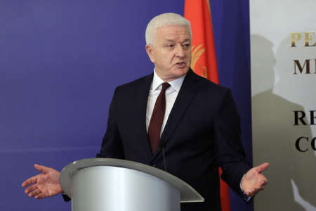 Sofia, Bulgaria - 28 February, 2020: Prime Minister of Montenegro Dusko Markovic speaks to the media during a press conference after meeting with his Bulgarian counterpart. 新闻类图片