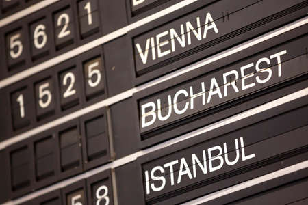 Old flight information display system. Split-flap (or just flap) display. Often used as a public transport timetable in airports or railway stations. Vienna, Bucharest, Istanbul.