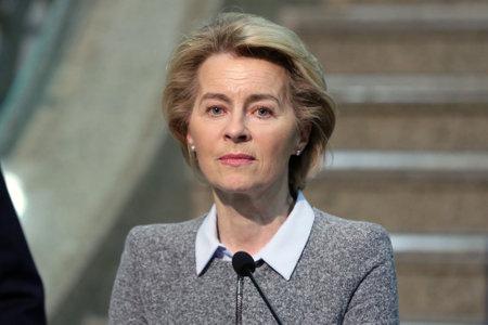 Sofia, Bulgaria - 3 March, 2020: EU Commission President Ursula von der Leyen gives a press conference at the Sofia Airport.