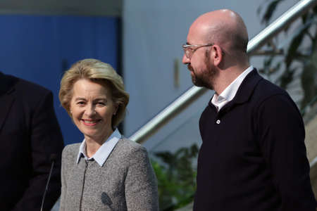 Sofia, Bulgaria - 3 March, 2020: EU Commission President Ursula von der Leyen and EU Council President Charles Michel give a press conference at the Sofia Airport.