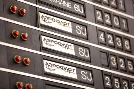 Sofia, Bulgaria - 11 February, 2020: Aeroflot Soviet Airlines labels from the Soviet Union era are seen on an old flight information display system. Split-flap (or just flap) display. Publikacyjne