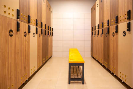 A changing room, locker room, dressing room or changeroom is a room or area designated for changing one's clothes. 免版税图像 - 150796900