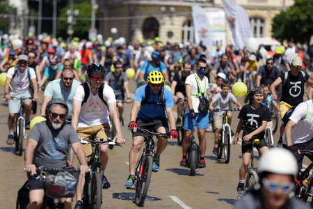 Sofia, Bulgaria - 28 June, 2020: Hundreds of cyclists participate in a bike ride on Sunday morning.
