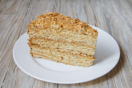 Piece of tasty and fresh cake Napoleon. Close up