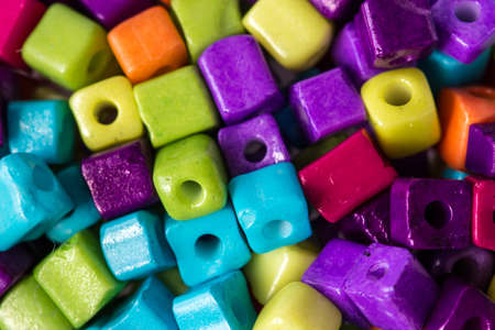 Lot of colorful cubed beads Stock Photo