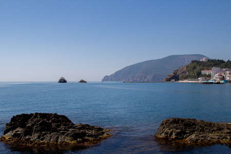 sudak: Summer landscape, mountain, cliff, sea and clean blue sky. Nature background. Beautiful trail through the mountain. Travel in Crimea.