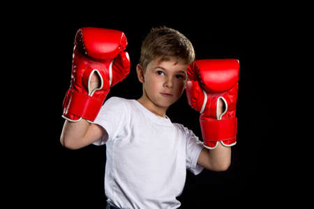 Boxer portrait with hands up in red boxing gloves. The curiosity position portrait on the black background