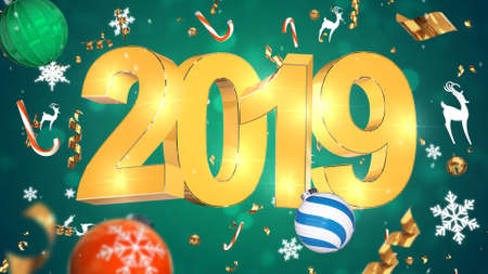Nostalgic Christmas Decoration, Golden Text 2019, green background with colorful tinsel, christmas toys