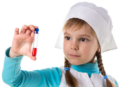 Professional nurse girl with red reactive in test tube, isolated in white background. Close up Stock Photo